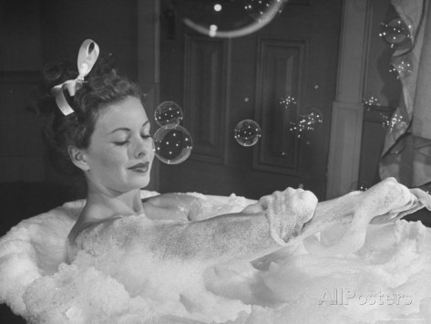 peter-stackpole-jeanne-crain-taking-bubble-bath-for-her-role-in-movie-margie