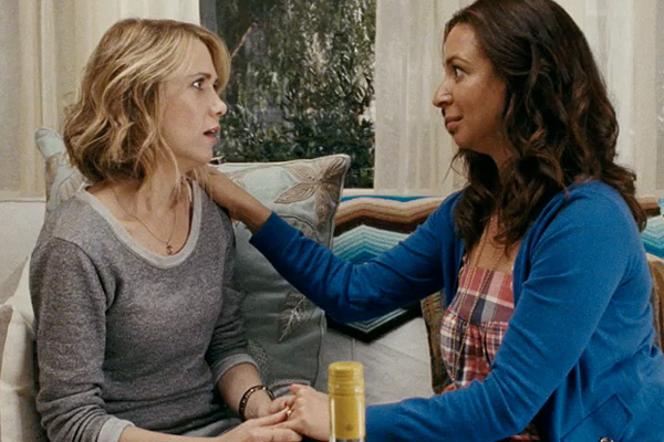 A still from the movie 'Bridesmaids' featuring Kristen Wiig and Maya Rudolph