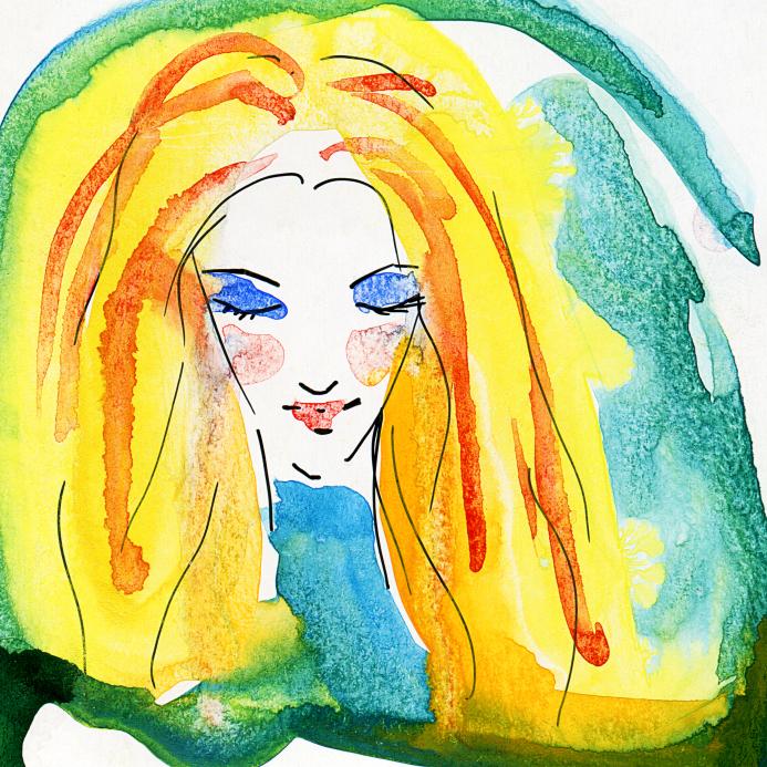 Watercolor Portrait of Blonde Girl