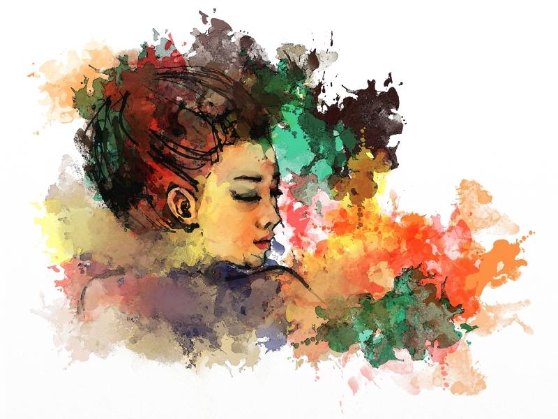 watercolor painting of beautiful girl