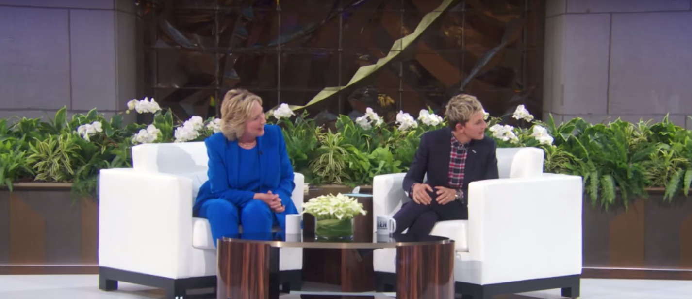 Picture of Hillary on Ellen with Amy Schumer