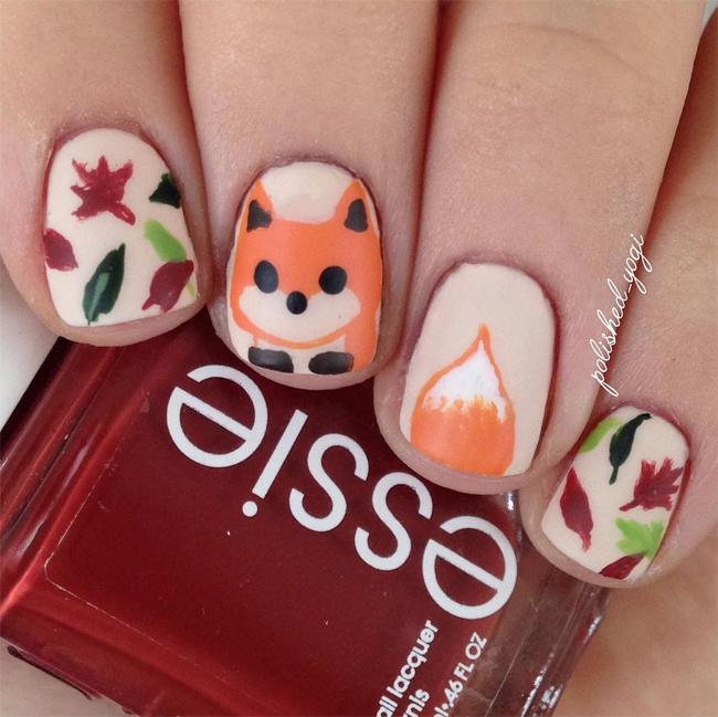 fall-fox-nail-art