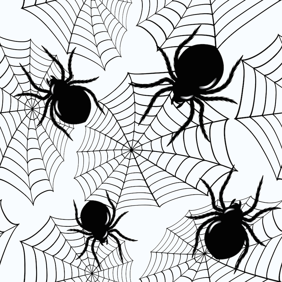 Halloween seamless  with  spiders and a web