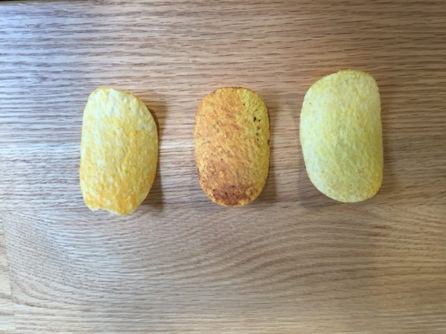 From Left to right: Hot Diggity Dog flavor, Tortilla Chili Cheese flavor, and Cheddar Cheese Lightly Salted.