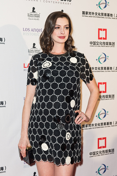 LOS ANGELES, CA - JANUARY 27:  Actress Anne Hathaway arrives at the LA Art Show And Los Angeles Fine Art Show's 2016 Opening Night Premiere Party Benefiting St. Jude Children's Research Hospital at Los Angeles Convention Center on January 27, 2016 in Los Angeles, California.  (Photo by Emma McIntyre/Getty Images)