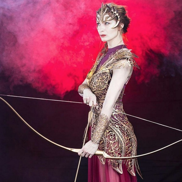Picture of Felicia Day Modeling 3D-Printed Armor