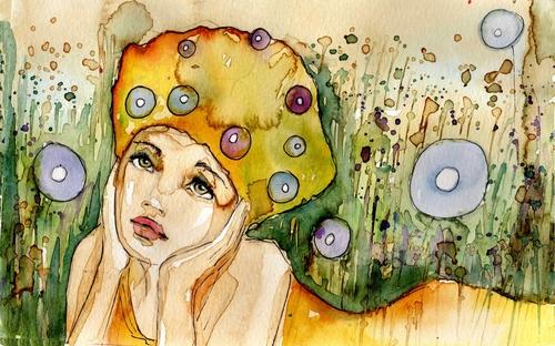 Sad Girl Watercolor