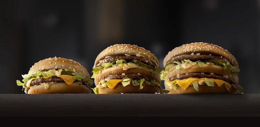 From left to right: Mac Jr., Big Mac, Giga Big Mac