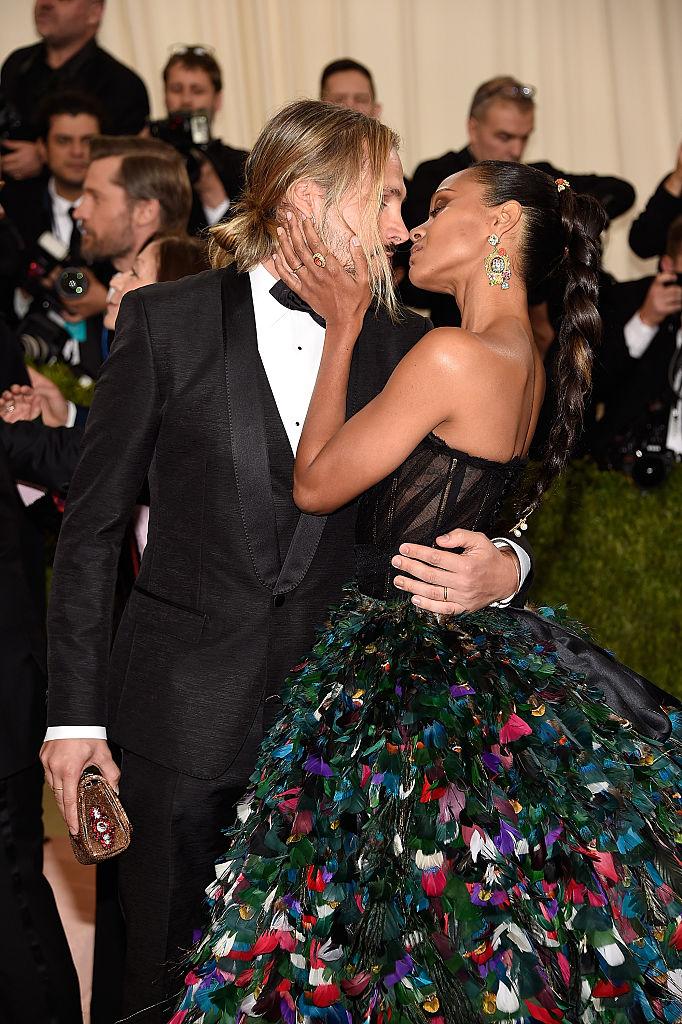 NEW YORK, NY - MAY 02:  Marco Perego and Zoe Saldana attends