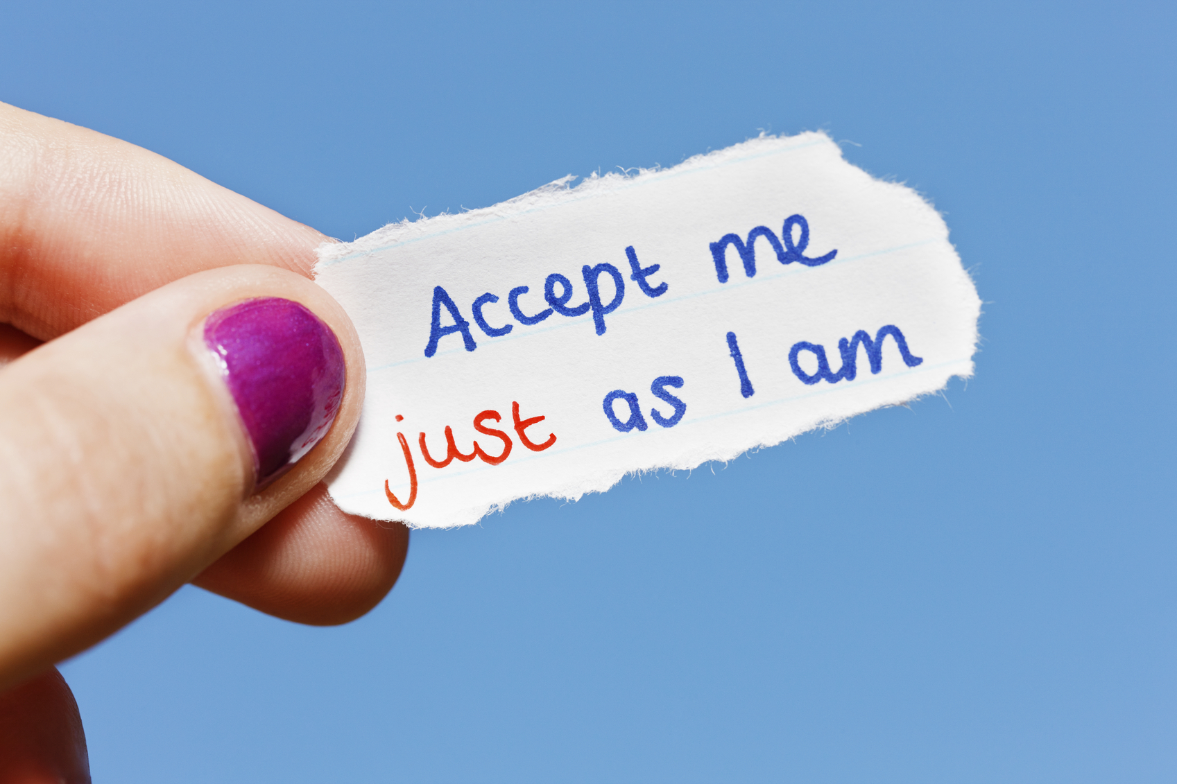 Accept me just as I am says hand-drawn note