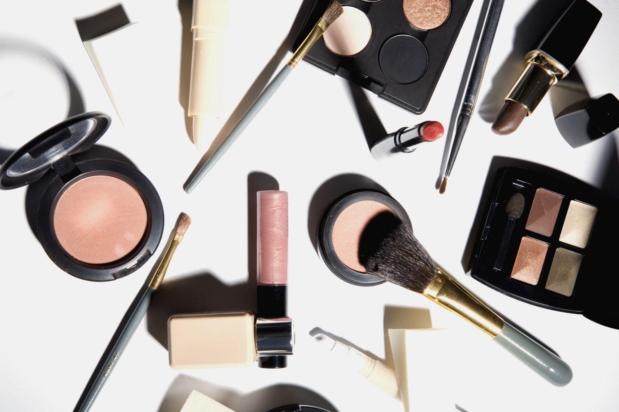 High angle view of cosmetics