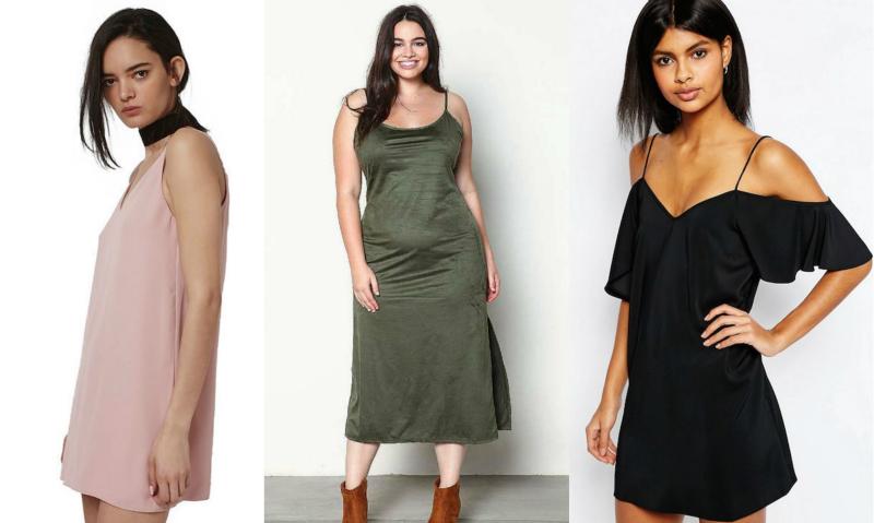 slip dress collage