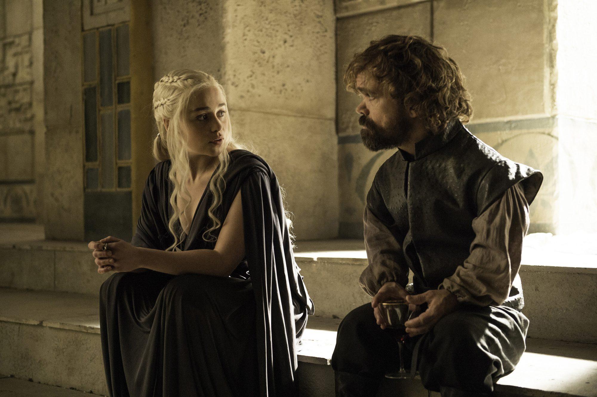 Tyrion Lannister Daenerys Targaryen in HBO's Game of Thrones.