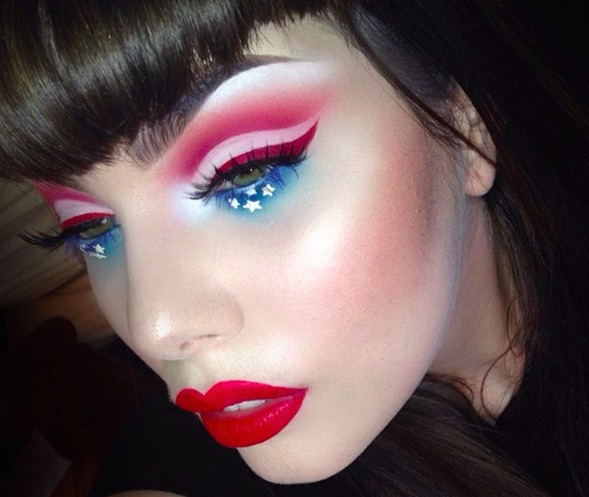 red white and blue makeup