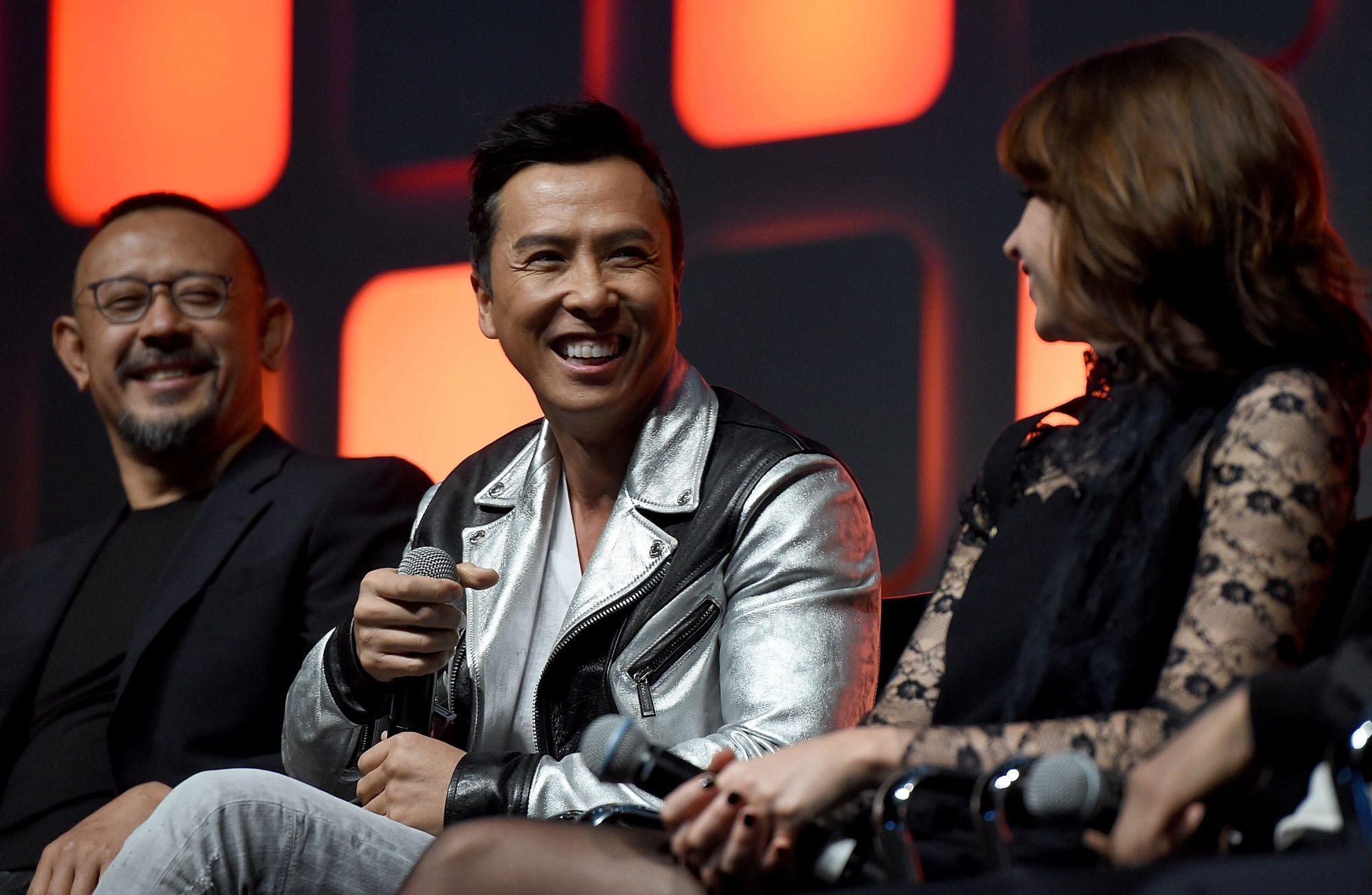 L-R: Jiang Wen, Donnie Yen, and Felicity Jones