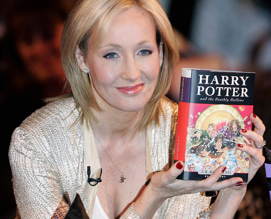British author J.K. Rowling presents her
