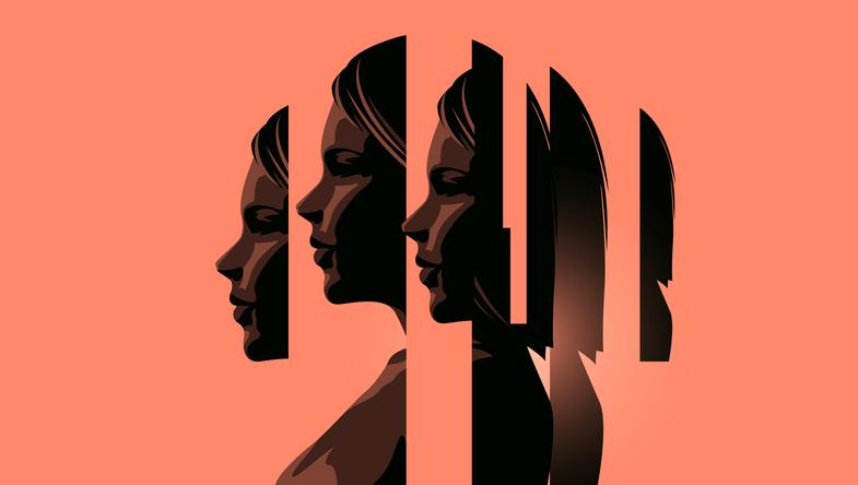 Illustration of a woman's head depicting mental illness