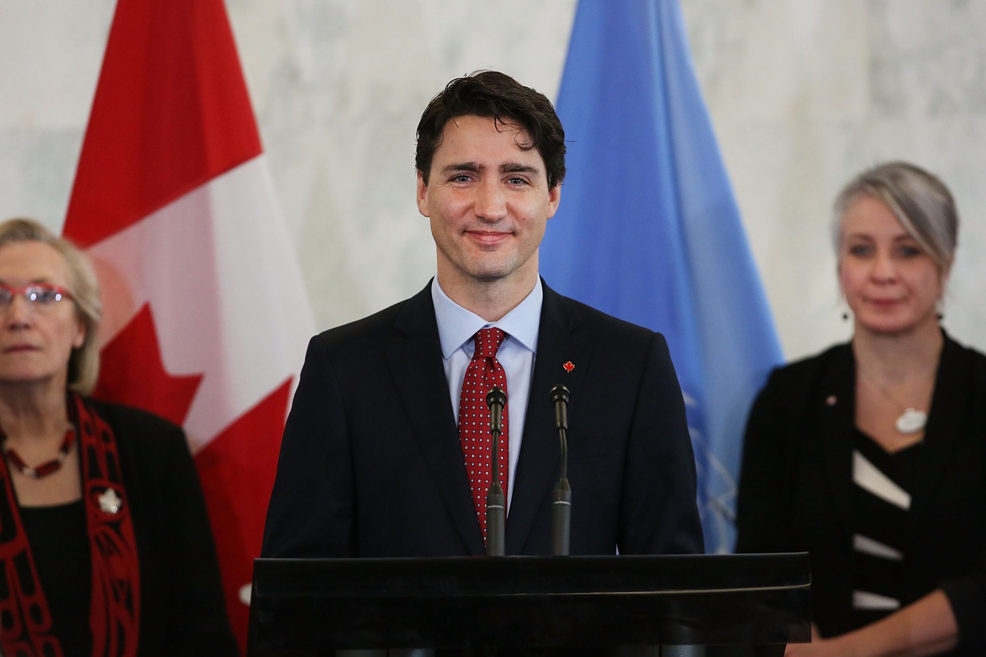 Canadian Prime Minister Justin Trudeau Speaks To The Press At The United Nations