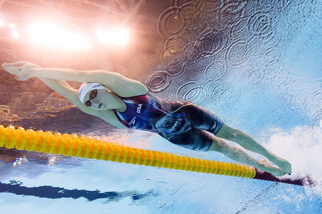 USA's Katie Ledecky competes in a Women's 200m Freestyle heat during the swimming event at the Rio 2016 Olympic Games at the Olympic Aquatics Stadium in Rio de Janeiro on August 8, 2016.  / AFP / François-Xavier MARIT        (Photo credit should read FRANCOIS-XAVIER MARIT/AFP/Getty Images)