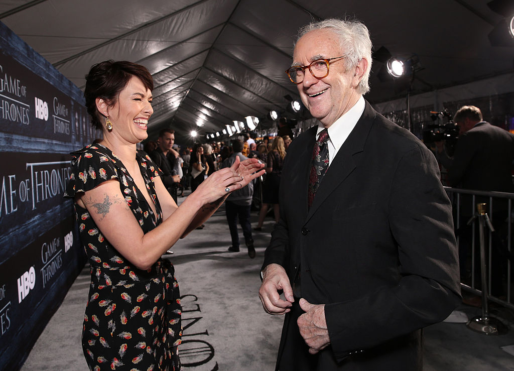 HOLLYWOOD, CALIFORNIA - APRIL 10:  Lena Headey and Johnathan Pryce attend the premiere of HBO's