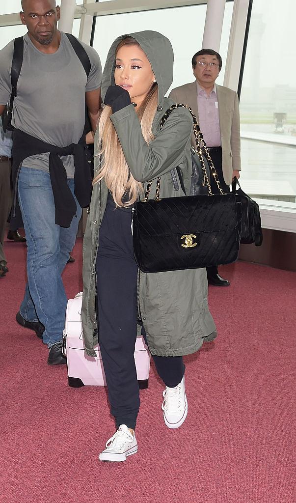 TOKYO, JAPAN - JUNE 13:  Ariana Grande is seen upon arrival at Haneda Airport on June 13, 2016 in Tokyo, Japan.  (Photo by Jun Sato/GC Images)