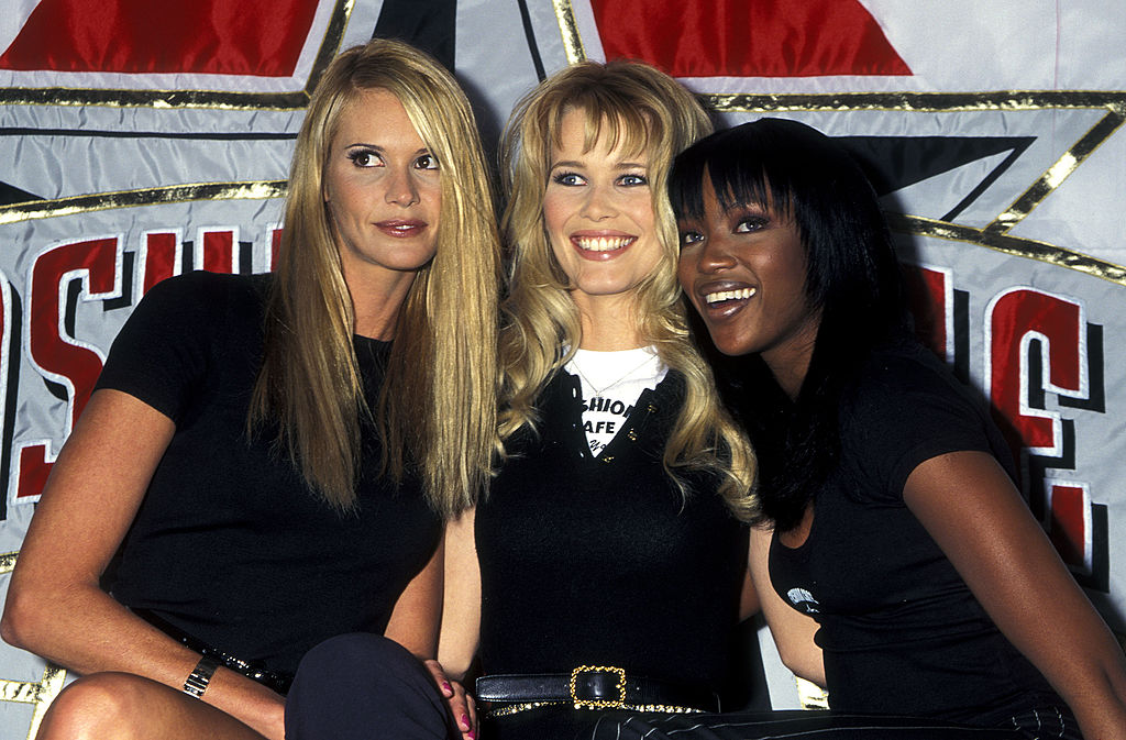 Elle Macpherson, Claudia Schiffer, and Naomi Campbell Give A Press Conference for Fashion Cafe in New York City - April 7, 1995