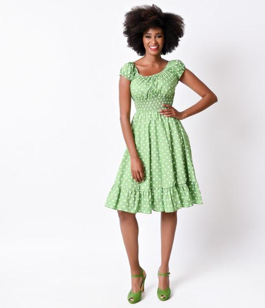 1940s_Style_Lime_Green_White_Dot_Cap_Sleeve_Peasant_Swing_Dress_4.jpg