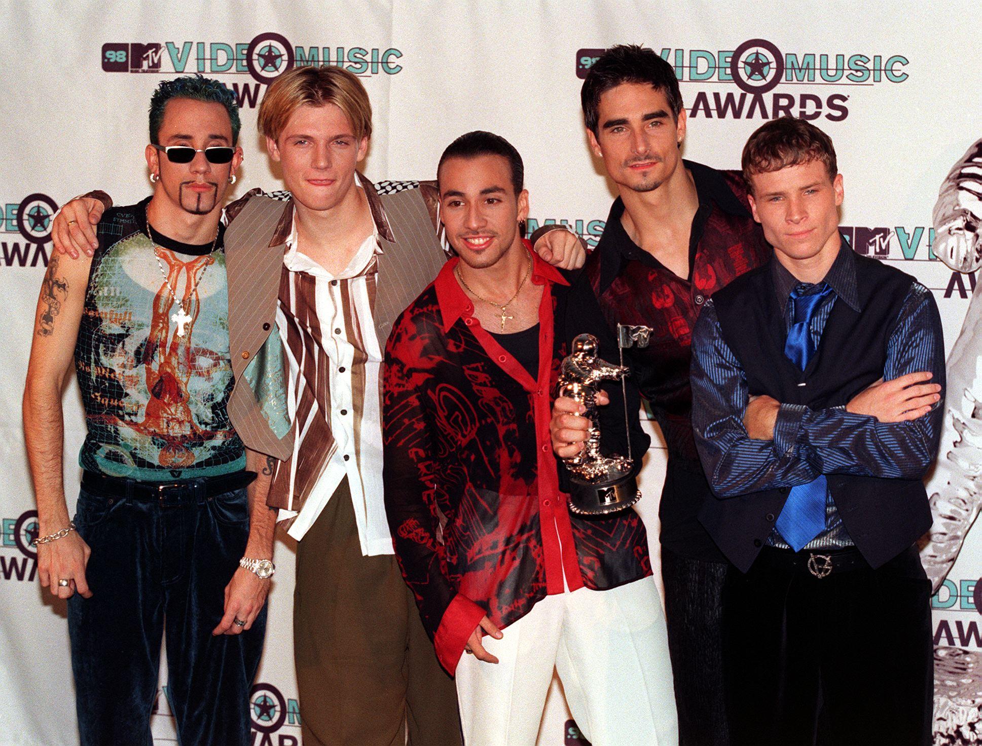 Members of the musical group Backstreet Boys pose