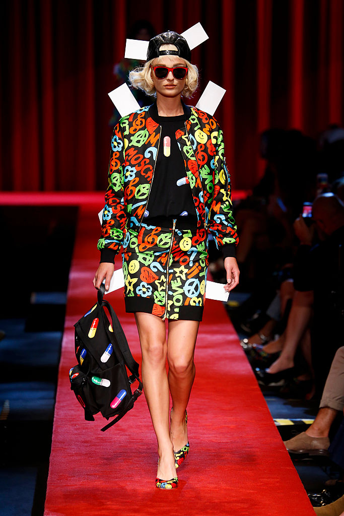 MILAN, ITALY - SEPTEMBER 22: A model walks the runway at the Moschino designed by Jeremy Scott show Milan Fashion Week Spring/Summer 2017 on September 22, 2016 in Milan, Italy. (Photo by Estrop/Getty Images)