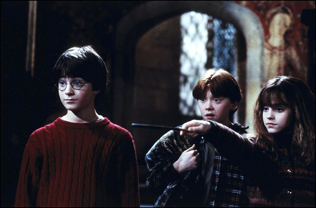 "Haryr, Ron, and Hermione in ""Harry Potter and the Sorcerer's Stone"""