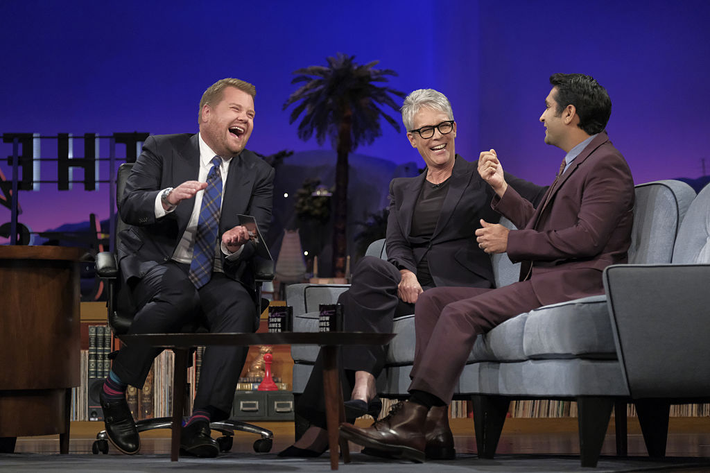 LOS ANGELES - OCTOBER 3: Jamie Lee Curtis and Kumail Nanjiani chat with James Corden during