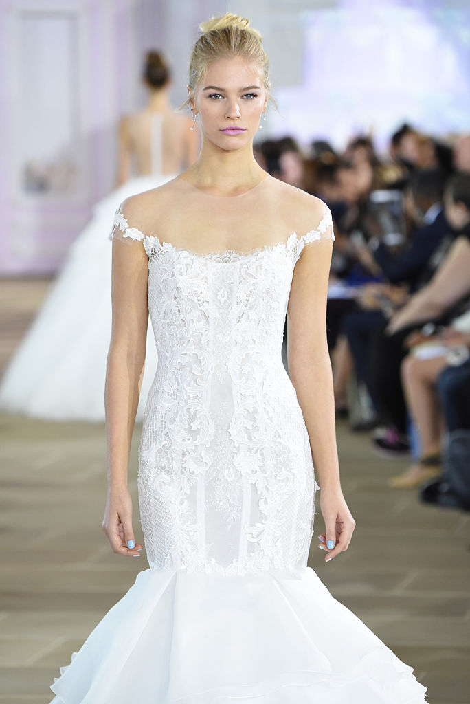 NEW YORK, NY - OCTOBER 07:  A model walks the runway at the Ines Di Santo show during New York Fashion Week: Bridal at The IAC Building on October 7, 2016 in New York City.  (Photo by Albert Urso/Getty Images)