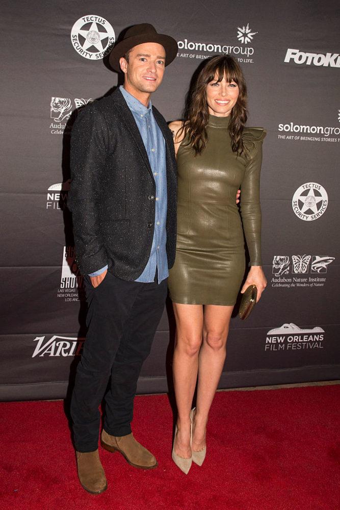 NEW ORLEANS, LA - OCTOBER 15:  (L-R) Justin Timberlake and Jessica Biel attend