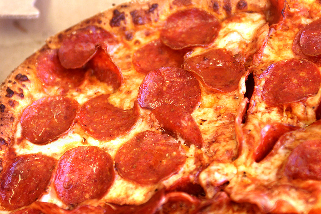 (Huntington Beach, CA) A closeup of pepperoni pizza from Domino's Pizza in Huntington Beach.