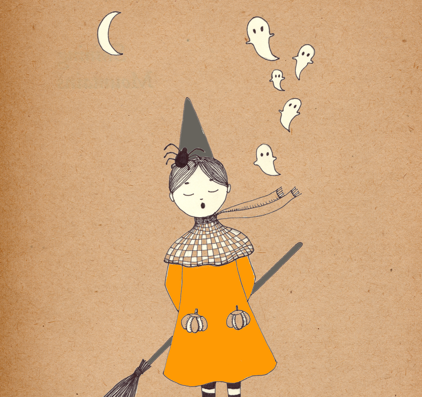 A young girl witch singing to ghosts