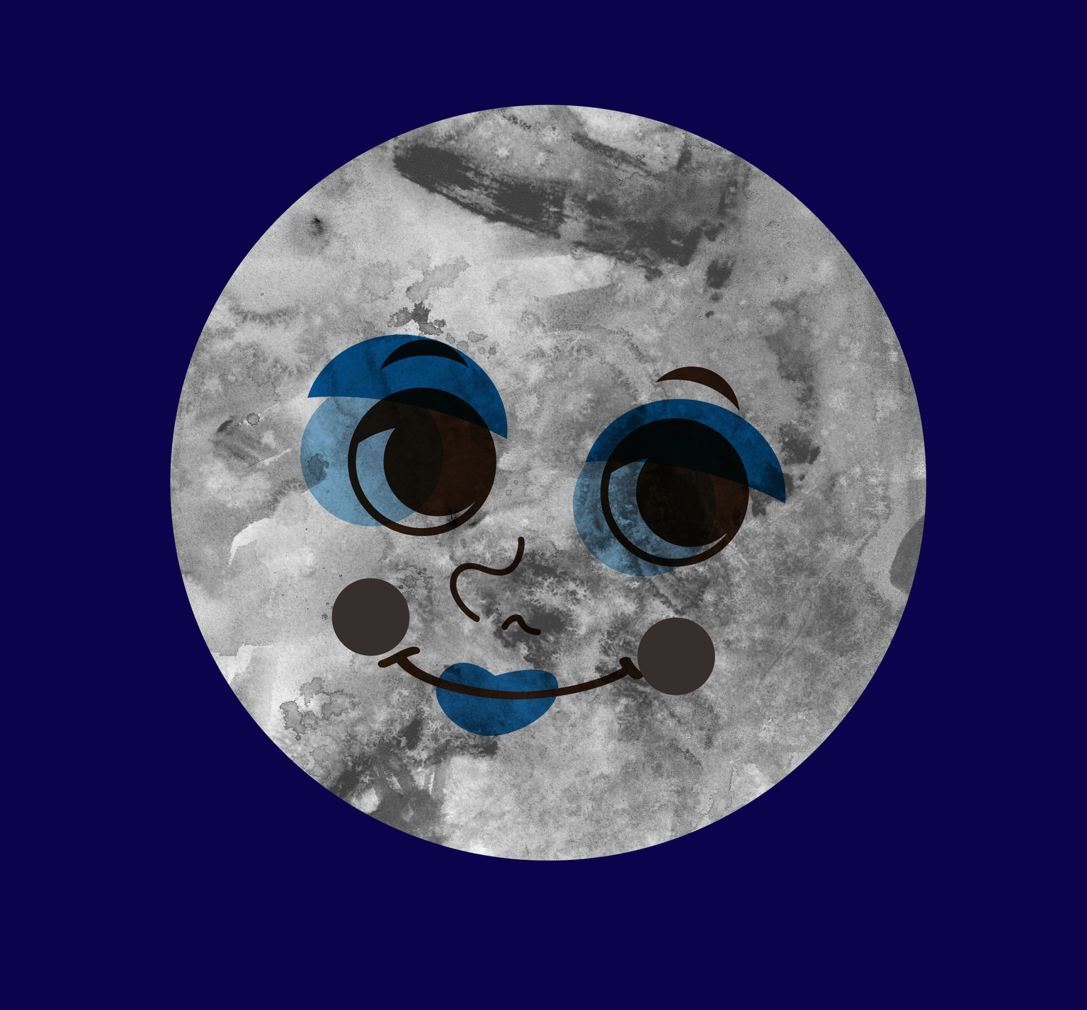 Drawing of moon with face