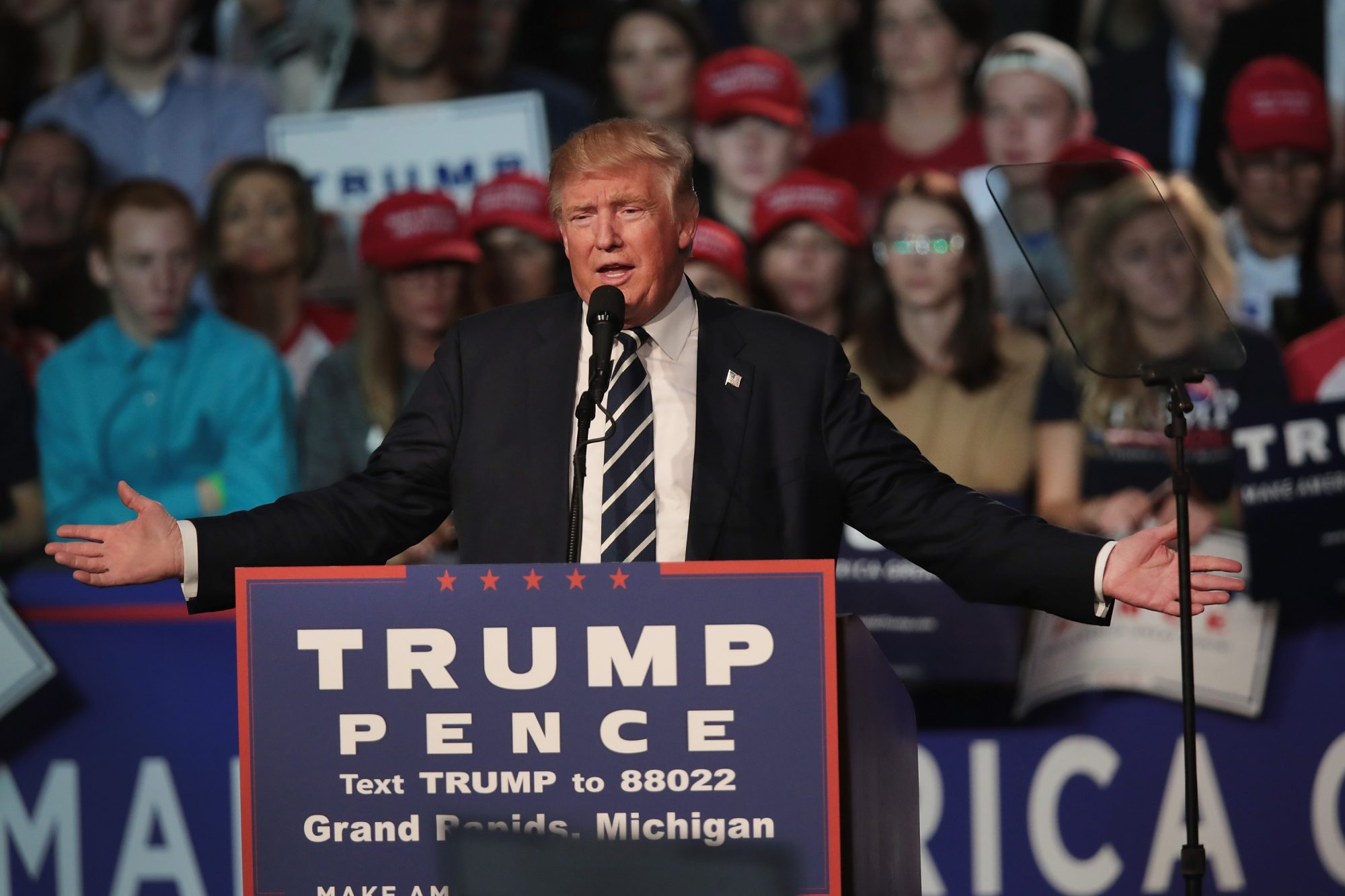 Donald Trump And Mike Pence Hold Final Campaign Rally In Grand Rapids, MI