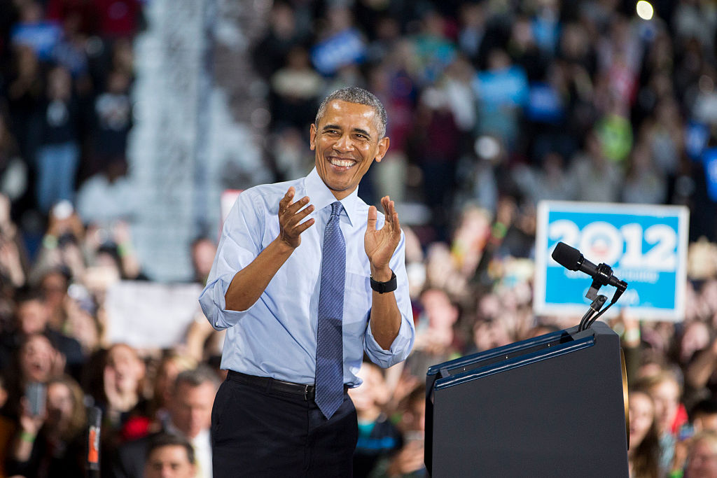 President Obama Campaigns for Democratic presidential nominee former Secretary of State Hillary Clinton In New Hampshire Day Before Election