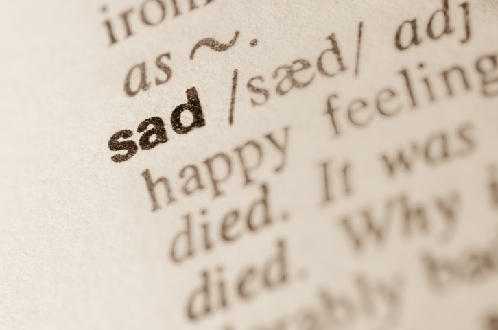 Dictionary definition of word sad