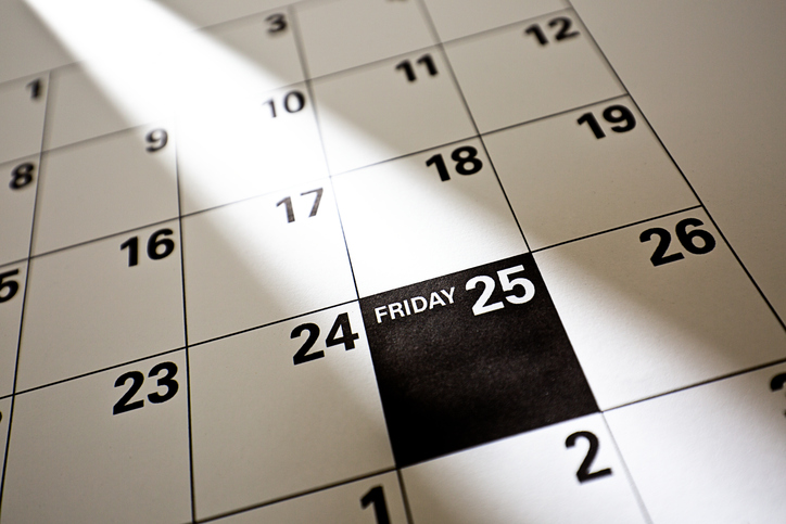 Black Friday 2016 Sale Calendar Date, November 25