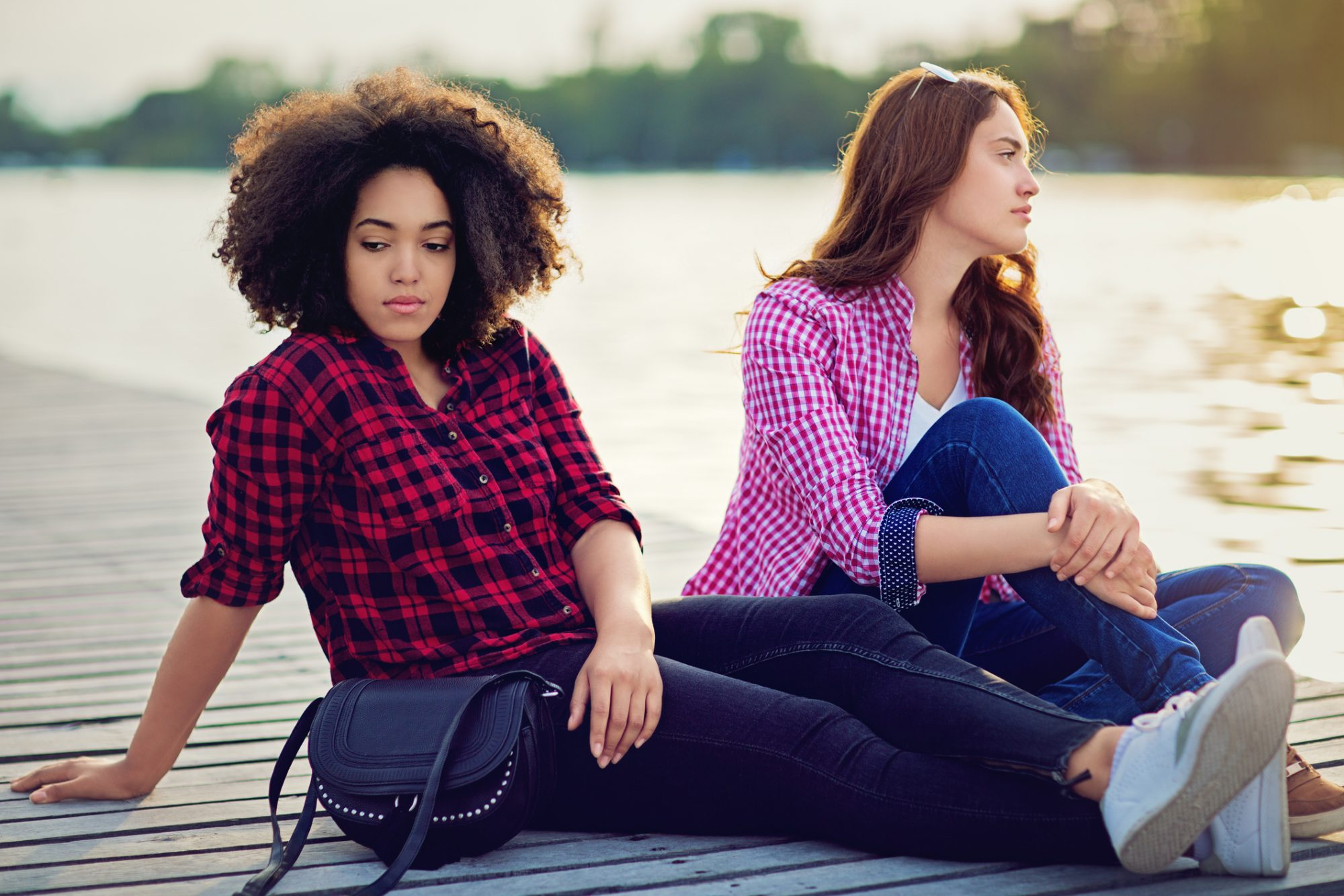 Questions Ask Friend - Girls Sitting Lake