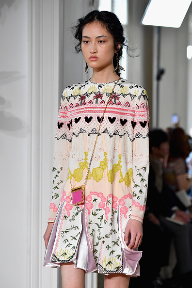 A model walks the runway during the Valentino show as part of the Paris Fashion Week Womenswear Spring/Summer 2017  on October 2, 2016 in Paris, France.