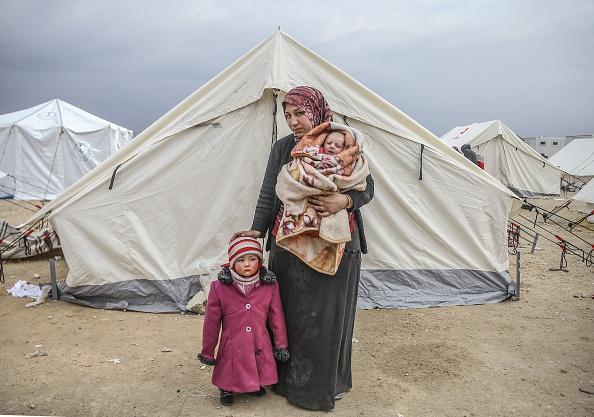 Refugee camp on Turkey-Syria border near Aleppo