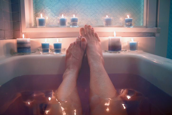 Hot bath and candles.