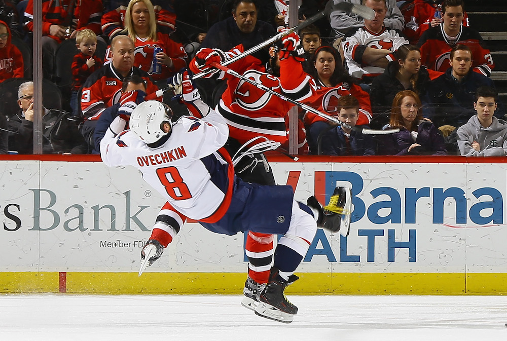 New Jersey Devils player Alex Ovechkin in the game.