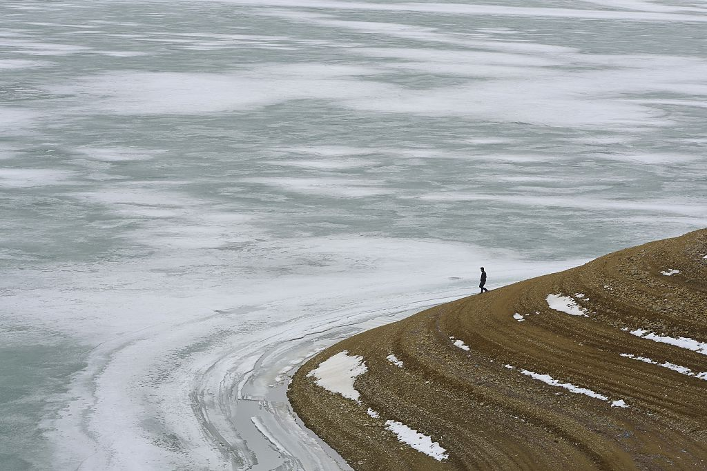 Melting ice floes over the lake in Turkey's Van