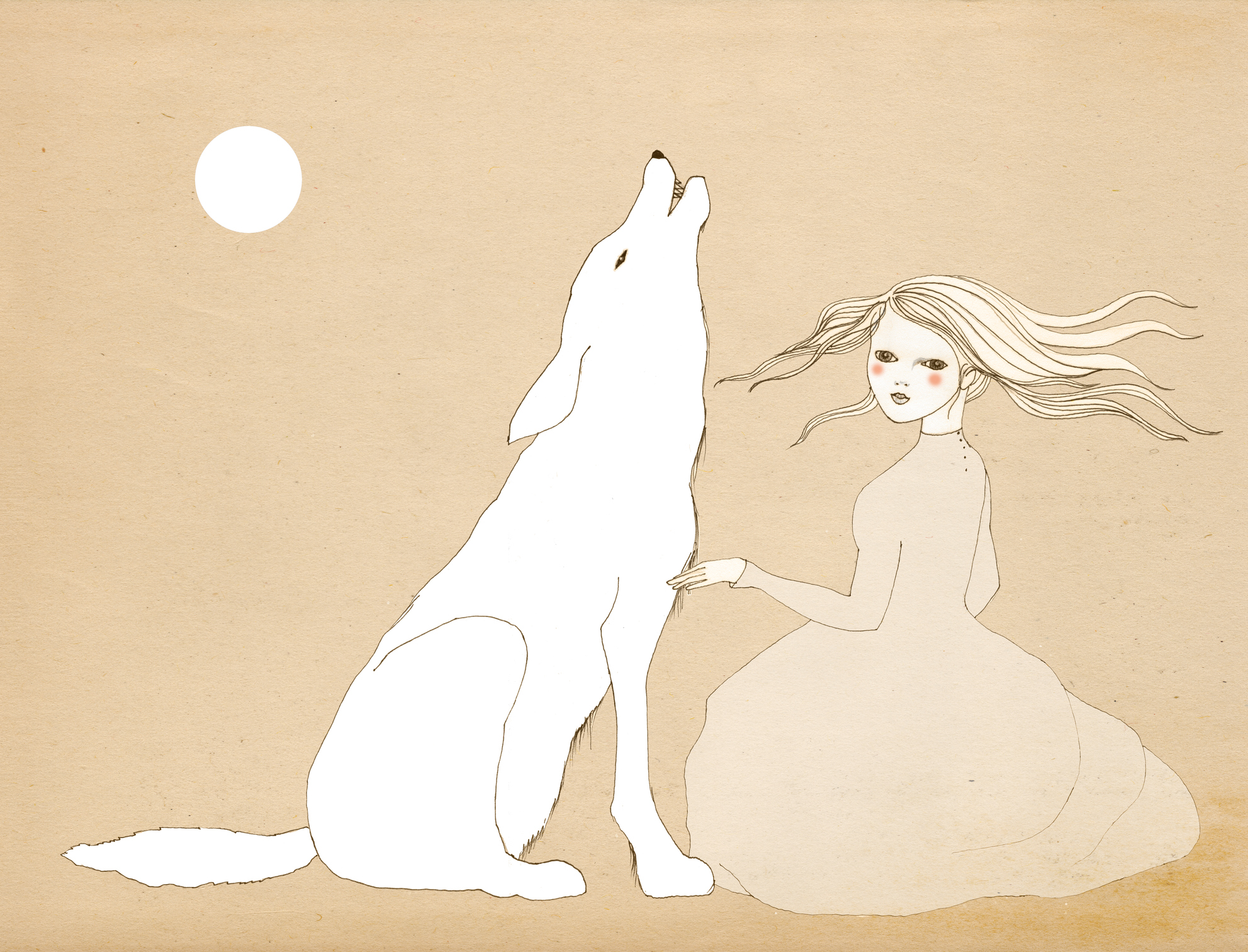 A young girl with a gray wolf howling at the full moon