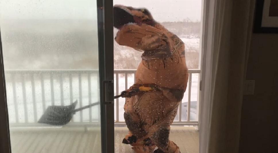 t-rex shoveling snow in a blizzard
