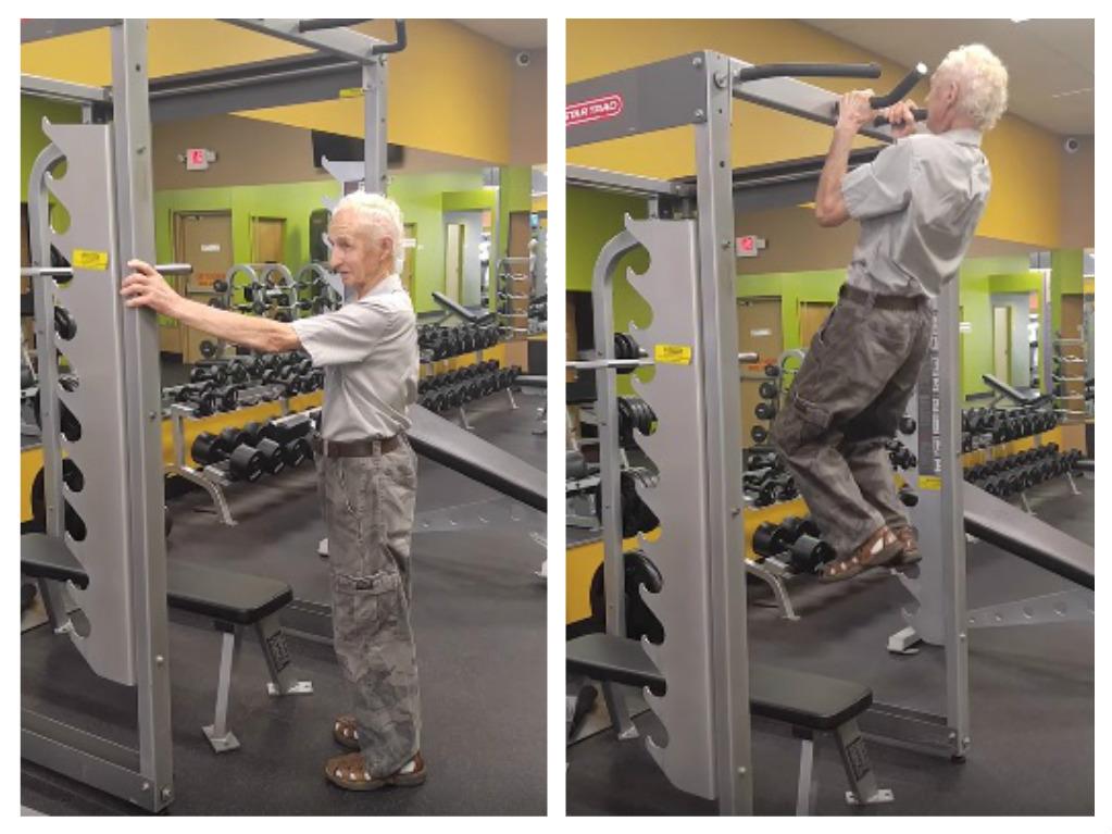 90 year old man does birthday pullups