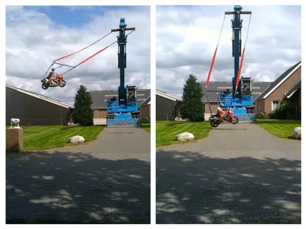 motorcycle swing on crane